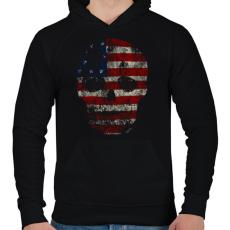 PRINTFASHION Amerikai koponya - Férfi kapucnis pulóver - Fekete