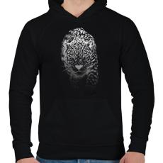 PRINTFASHION Jaguár - fehér - Férfi kapucnis pulóver - Fekete