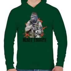 PRINTFASHION Gorilla hadsereg - Férfi kapucnis pulóver - Sötétzöld