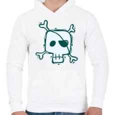PRINTFASHION Kalóz halálfej - Férfi kapucnis pulóver - Fehér
