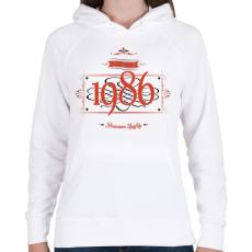 PRINTFASHION since-1986-red-black - Női kapucnis pulóver - Fehér