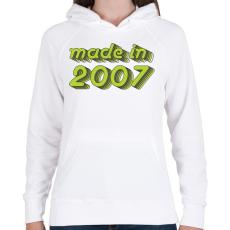 PRINTFASHION made-in-2007-green-grey - Női kapucnis pulóver - Fehér