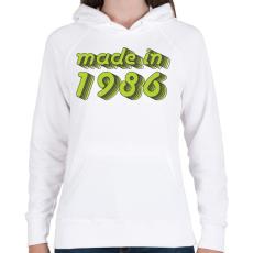 PRINTFASHION made-in-1986-green-grey - Női kapucnis pulóver - Fehér