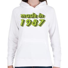 PRINTFASHION made-in-1987-green-grey - Női kapucnis pulóver - Fehér