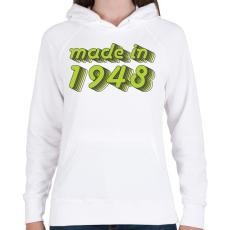 PRINTFASHION made-in-1948-green-grey - Női kapucnis pulóver - Fehér