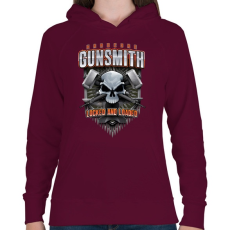 PRINTFASHION Gunsmith - Női kapucnis pulóver - Bordó
