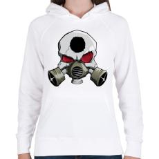 PRINTFASHION Gasmask skull - Női kapucnis pulóver - Fehér