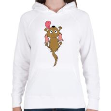 PRINTFASHION Kuty, a legjobb barát - Női kapucnis pulóver - Fehér