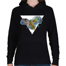 PRINTFASHION Színes bagoly - Női kapucnis pulóver - Fekete