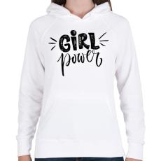 PRINTFASHION Girl power - Női kapucnis pulóver - Fehér