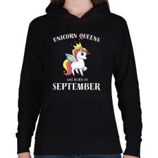 PRINTFASHION Unikornis királynők szeptemberben születnek - Női kapucnis pulóver - Fekete