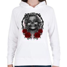PRINTFASHION Monroses Skull - Női kapucnis pulóver - Fehér