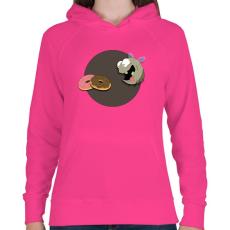 PRINTFASHION Légy és a  fánk - Női kapucnis pulóver - Fukszia