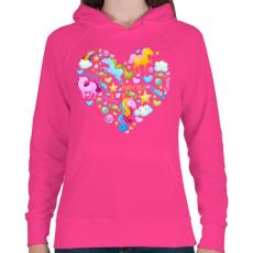 PRINTFASHION Egyszarvú szív - Női kapucnis pulóver - Fukszia