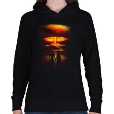 PRINTFASHION Háború és szerelem - Női kapucnis pulóver - Fekete