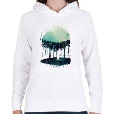 PRINTFASHION Deep in the forest - Női kapucnis pulóver - Fehér