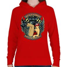 PRINTFASHION Motorverseny - Női kapucnis pulóver - Piros