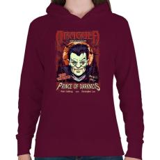 PRINTFASHION A sötétség hercege - Női kapucnis pulóver - Bordó