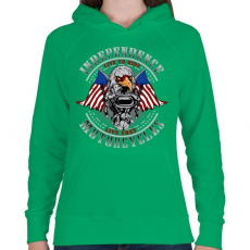 PRINTFASHION Függetlenség - Női kapucnis pulóver - Zöld
