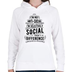 PRINTFASHION Nem vagyok antiszociális - Női kapucnis pulóver - Fehér