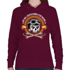 PRINTFASHION Nincs megállás - Női kapucnis pulóver - Bordó