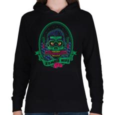 PRINTFASHION Hipszter zombi - Női kapucnis pulóver - Fekete