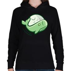 PRINTFASHION Zöld bálna - Női kapucnis pulóver - Fekete