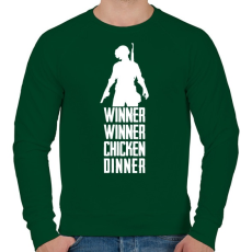 PRINTFASHION Winner Winner Chicken Dinner PUBG - Férfi pulóver - Sötétzöld
