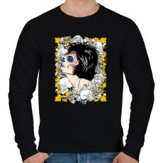 PRINTFASHION A királynő és a koponyák - Férfi pulóver - Fekete
