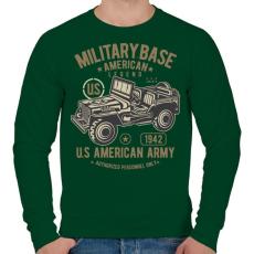 PRINTFASHION Amerikai katonai jeep - Férfi pulóver - Sötétzöld