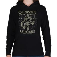 PRINTFASHION Űrhajós kaland - Női kapucnis pulóver - Fekete