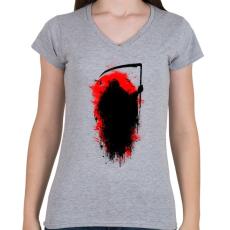 PRINTFASHION Kaszás - Női V-nyakú póló - Sport szürke