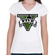 PRINTFASHION GTA V logo - Női V-nyakú póló - Fehér