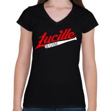 PRINTFASHION Walking Dead - Lucille - Női V-nyakú póló - Fekete