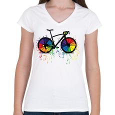 PRINTFASHION Színes bicikli - Női V-nyakú póló - Fehér