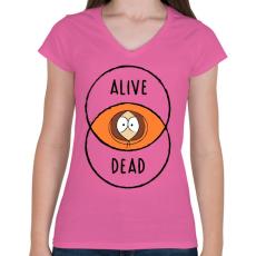 PRINTFASHION Kenny - Női V-nyakú póló - Rózsaszín