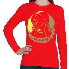 PRINTFASHION Kell a zene - Női hosszú ujjú póló - Piros