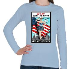 PRINTFASHION Csatlakozz a tengerészethez - Női hosszú ujjú póló - Világoskék