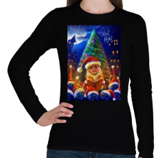 PRINTFASHION Christmasuj - Női hosszú ujjú póló - Fekete