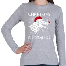 PRINTFASHION Christmas is coming! - Női hosszú ujjú póló - Sport szürke