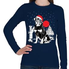 PRINTFASHION Rottweiler Karácsony - Női hosszú ujjú póló - Sötétkék