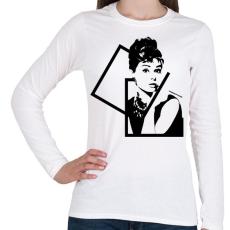 PRINTFASHION Audrey Hepburn - Női hosszú ujjú póló - Fehér