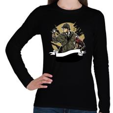 PRINTFASHION Sherlock Holmes - Női hosszú ujjú póló - Fekete