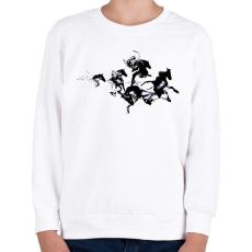 PRINTFASHION Black horses - Gyerek pulóver - Fehér