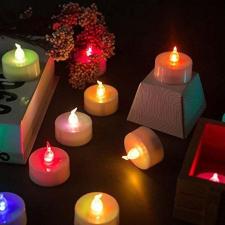 6 db Karácsonyi LED elemes világító teamécses színes karácsonyi dekoráció