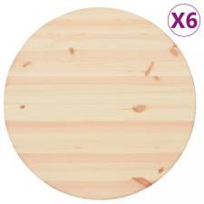 6 db kerek természetes fenyő asztallap 25 mm 60 cm bútor