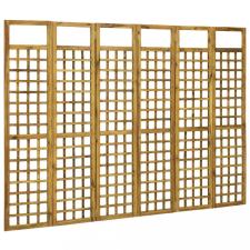 6-paneles tömör akácfa szobaelválasztó/paraván 240 x 170 cm bútor