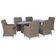 7 részes barna kültéri polyrattan étkezőgarnitúra kerti bútor