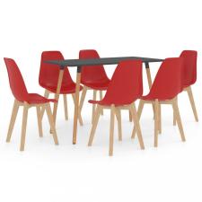 7 részes piros étkezőszett bútor
