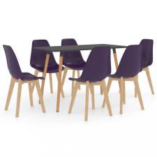 7 részes sötétlila étkezőszett bútor